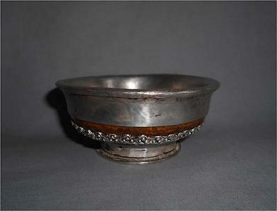Antique Tibet TOP HIGH AGED THICKLY SILVER COVERED DECORATED TEA BOWL CUP