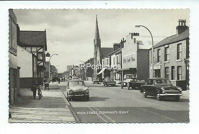 Vintage real photo postcard ~ High Street ~ Connah's Quay