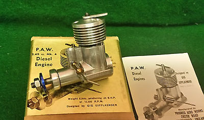 P.A.W. 2.49cc MK.4 Control Line Free Flight Diesel Engine With Unused Muffler