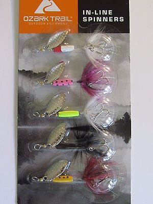 New 5pk Assortment Rooster Tail Ozark Trail In-Line Spinners Fishing Lures