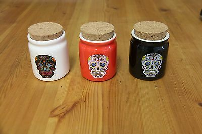 Mexican Sugar Skull set of 3 Storage Pots with Cork Lids