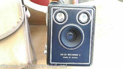 Vintage Kodak Six-20 Brownie Model C Box Film Camera With Carry Case- Free UK PP