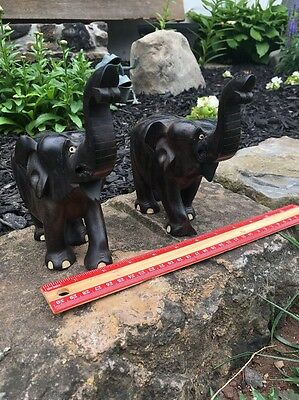 2 Vintage Hand Carved Ebony Wooden Elephants With Inlay