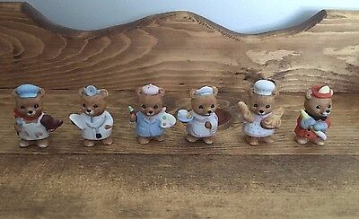Set of 6 Bear Figurines by HOMCO #8820 - Great Condition