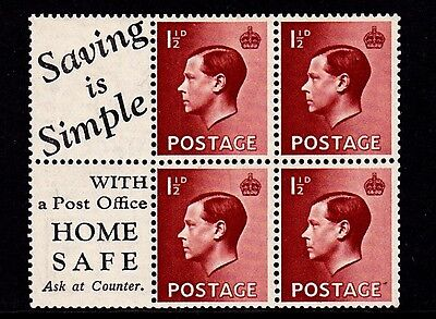 GB 1936 Booklet Pane of 1.5d Red Brown x 4 & 2 Labels SG 459a Mounted on label