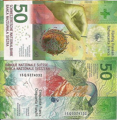 Switzerland Swiss 2015 Banknotes 50 Francs UNC