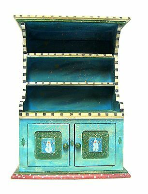 """11 1/2"""" Vintage Handpainted Snowman Wood 3 Shelf Cabinet Hutch Crafted In Mexico"""