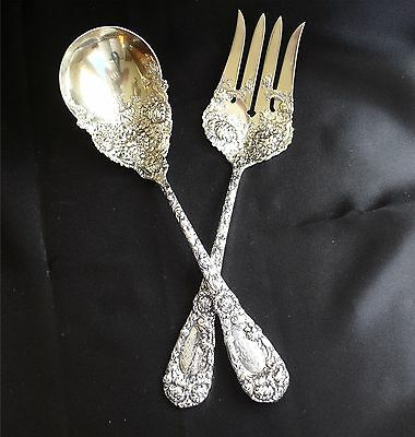 2-Piece Durgin Chrysanthemum Sterling Silver Salad Serving Set 1893 Fork & Spoon