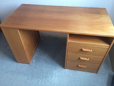 Teak Desk With Three Drawers And Side Shelving