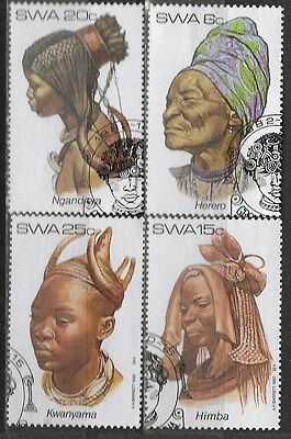 SOUTH WEST AFRICA 1982 Sc#499-502 TRADITIONAL HEADDRESSES COMPLETE USED SET 0525