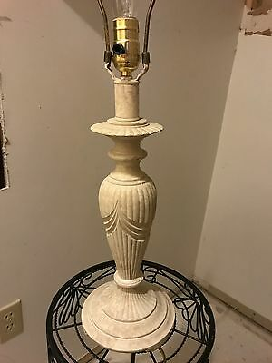 Vtg Art Deco Beautiful Carved White/Ivory Alabaster Stone Marble Sculpted Lamp