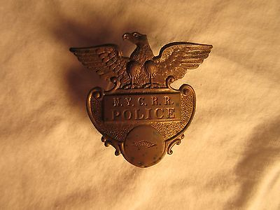 Vintage NEW YORK Central Systems RAILROAD POLICE Hat Badge
