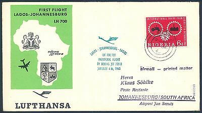 Lufthansa 1963 Boeing 720B First Flight Cover from Nigeria to South Africa