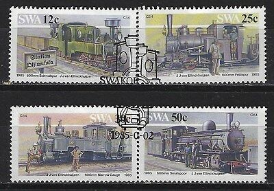 SOUTH WEST AFRICA 1985 Sc#544-7 SWAKOPMUND-TSUMEB RAILWAY COMPLETE USED SET 0638