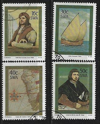 SOUTH WEST AFRICA 1988 Sc#594-7 DISCOVERY CAPE GOOD HOPE USED COMPLETE SET 0605