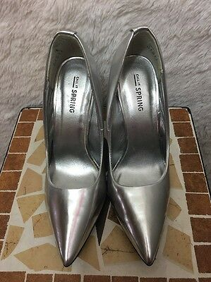 CALL it SPRING women's Silver pointed toe pumps stilettos heels shoes US 6.5