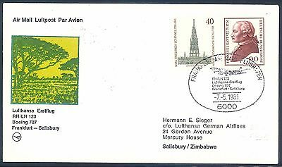 Lufthansa 1981 Boeing 707 First Flight Cover from Germany to Zimbabwe