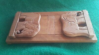 Vintage (?) carved wooden elephant book slide Bookends  Treen