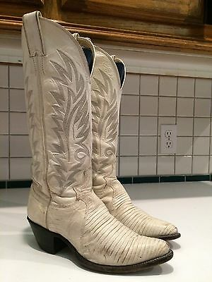 Women's White Leather Western Cowgirl 9463 Boots Size 6 B (Lot B)