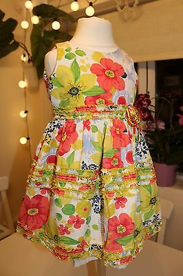 Sarah Louise- Vintage Floral Soft Cotton Frilled Party Dress Baby Girl 12 Months