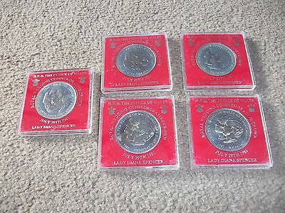 Job Lot Of  Five Commemorative Medals Hrh Prince Of Wales And Diana 1981 M.i.b