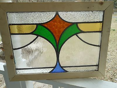 MA9 335 Lovely Older Leaded Stain Glass Window From England Reframed