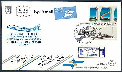 Israel Airlines 1986 Special Flight Cover from Ben Gurion to South Africa