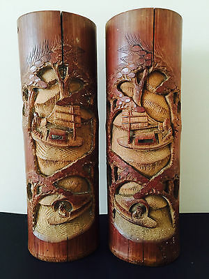 Vintage Pair Of Tall Chinese Carved Bamboo Brush Pots Converted Ready For Lamps