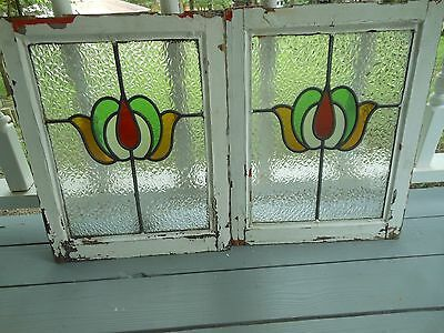 MA10-245 Very Pretty Older Leaded Stained Glass Window From England 2 Available