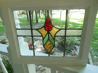 MA10-216 Lovely Older Leaded Stain Glass Window F/England Reframed