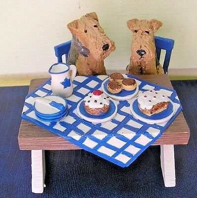Airedale Terrier pair JUST DESSERTS TABLE Scene!