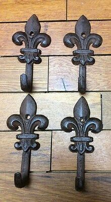 set of 4 Hooks Fleur De Lis Iron Rustic Antique Vintage Style Wall Hat Hanger