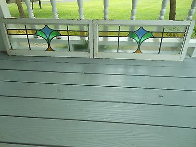 L209 Older Pretty Transom Style English Leaded Stain Glass Window 2 Available