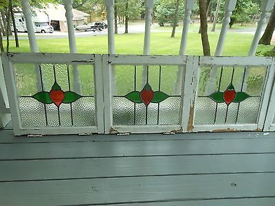 L316 Older Art Deco Style Leaded Stained Glass Window F/England 8 Available