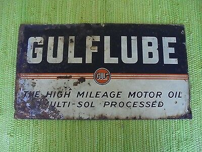 "Vintage GULFLUBE SIGN 21""x12"" Gulf Gas Oil Advertising Service Station Garage"