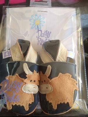 Daisy Roots Highland Cattle Leather Baby Shoes new in packaging