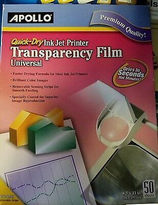 Apollo Quick Dry Universal Ink Jet Printer Film 8.5 x 11 Inch Sheets 50 NEW