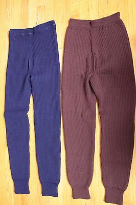 Rare! Mint Condition Vintage 20's 30's Hand Knit Wool Long Johns Pants S-M