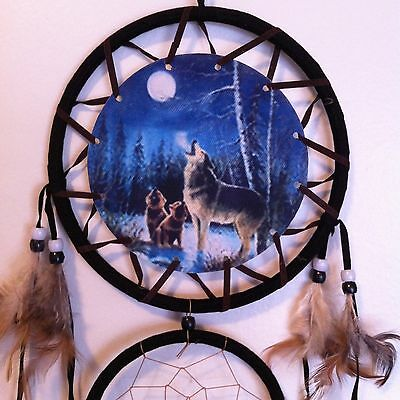 "Cherokee 26"" Turquoise Dream Catcher, Wolves Printed on Canvas, Feathers, Beads"
