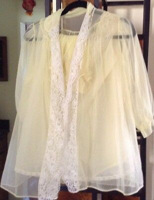 3 Piece Vintage 50s Yellow Pandora Lingerie Nylon Baby Doll Nighty Large