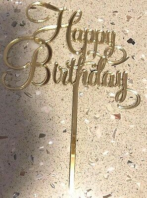 Gold Acrylic Happy Birthday Cake Topper