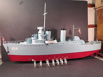 Blue Devil metal 39 inch WWII 2-stack US Destroyer, electric motor. By JMK Toys.