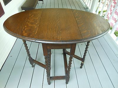 Petite English Oak Double Drop Leaf Gate Leg Tea Card Table Barley Twist Legs