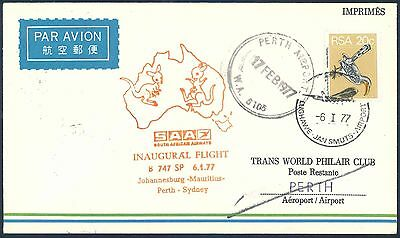 South African Airways 1977 Boeing 747SP First Flight Cover to Australia