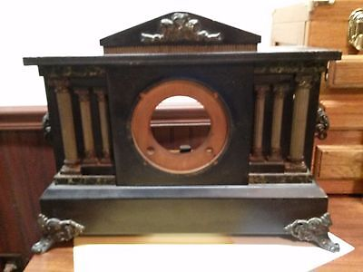 ANTIQUE INGRAHAM MANTEL CLOCK case with legs, decorations, and gong