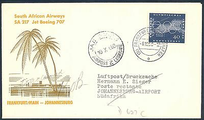 South African Airways 1960 Jet Boeing 707 First Flight Cover from Germany
