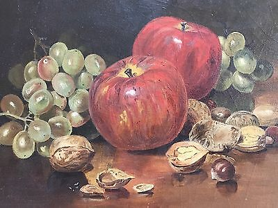 Lovely Antique American Still Life Painting of Apples And Fruit