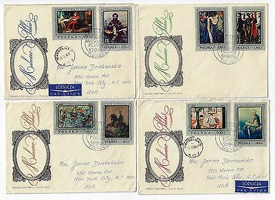 Poland 4 Fdc Set 1968 Polish Painters