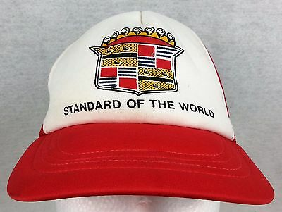 Vintage CADILLAC Standard of the World TRUCKER HAT Ball Cap SNAP BACK Mesh USA