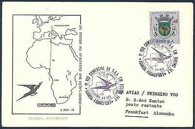 South African Airways 1972 Boeing 747 First Flight Cover from Angola to Germany